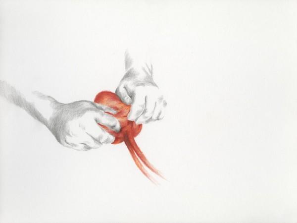 Na je eigen hand zetten Pencil drawing on paper, 40x30cm, 2013