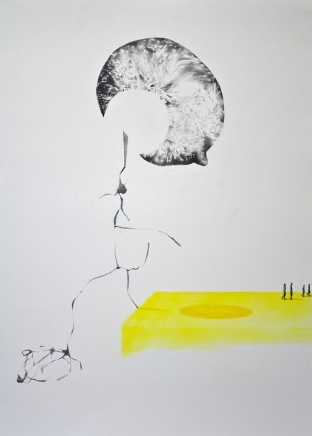 (A)way potloodtekening en pastel op papier / pencil drawing and pastel on paper, 50x70cm, 2015