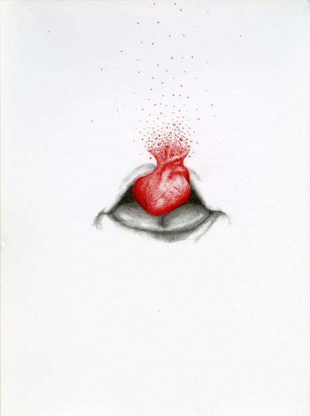 Hart op de tong Pencil drawing on paper, 30x40cm, 2013