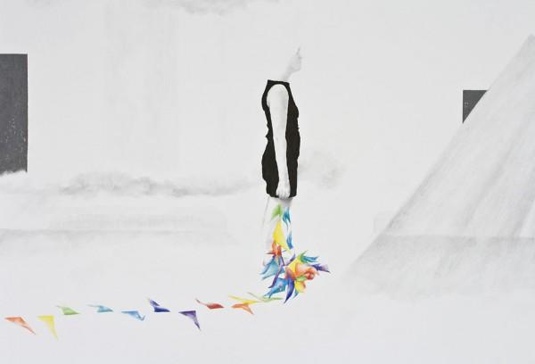 Met slingers versierd pencil drawing on paper, 100 x 65 cm, 2014, (verkocht/sold)