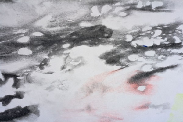Surrender to the light I (detail), pencil drawing on paper, 140x80 cm, 2015
