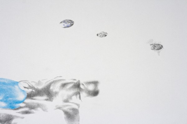 <strong>Surrender to the sea II (detail)</strong> pencil drawing on paper, 100×70 cm, 2015