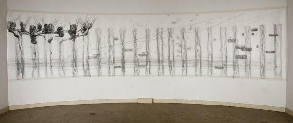 Graphite drawing on paper, ±600 x 150 cm, 2017, photo by Harold van de Kamp