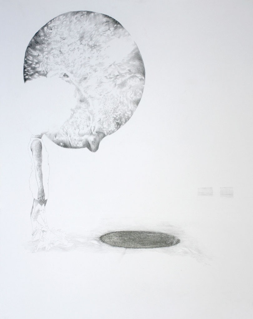 Decorated with festoon Pencil drawing on paper, 50 x 64 cm, 2014