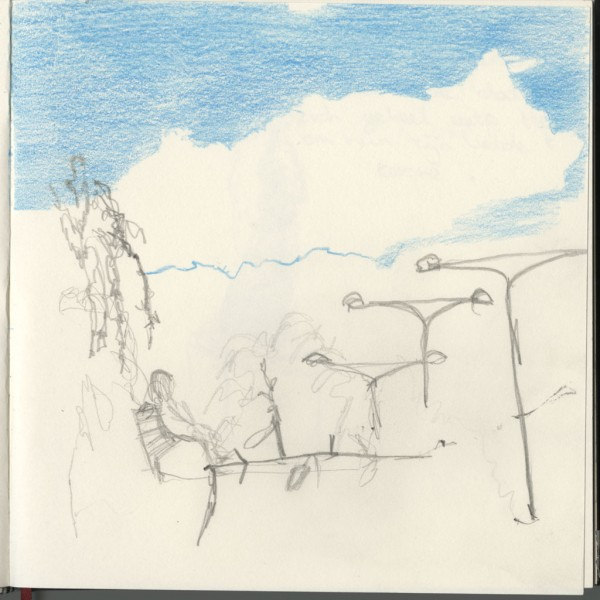 Mind my steps Pencil drawing in a book made during a performance, 20 cm x20 cm, 2014