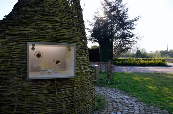 Quest of Oxytocine Installation with graphite drawings, golden leaf, maps and a scale in Museum van Alle Tijden, 2014 photo by Ans Verdijk