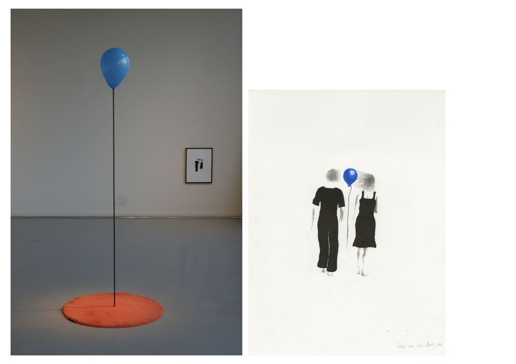 Power of attraction Installation with drawing, balloon, metal and a carpet, 400 x 200 x 170 cm, 2013