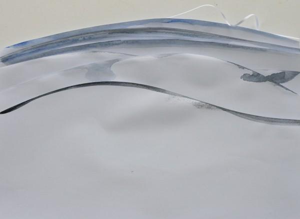 Gelaagde rivier, Watercolours on cut papers, 21x30cm, 2015