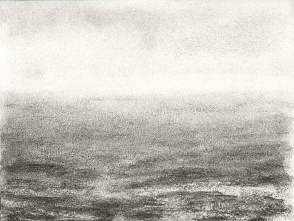 Light cleans the horizon Drawing, charcoal on paper, 31 x 23 cm, 2014