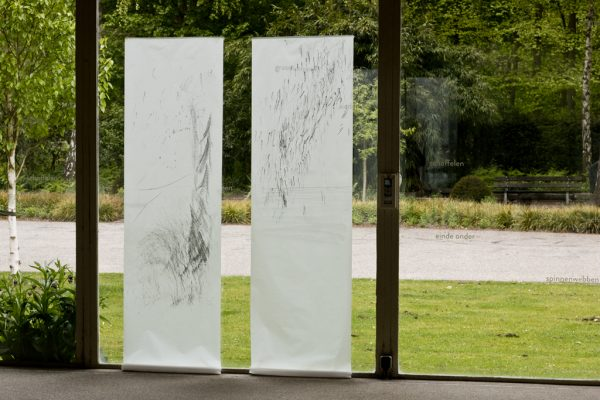 Graphite pencil on calqueer paper, 2 x 60 x ± 220 cm, exhibition in Zone2Source, het Glazen Huis, Amstelpark, Amsterdam, 2017, photo by Harold van de Kamp