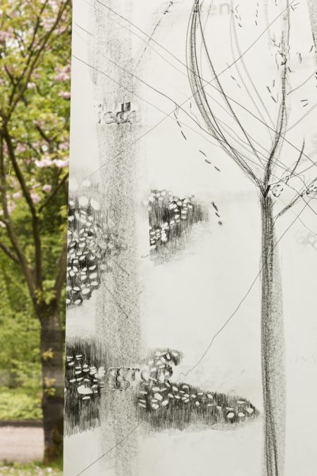 Detail, Graphite pencil on calqueer paper, 2 x 60 x ± 220 cm, exhibition in Zone2Source, het Glazen Huis, Amstelpark, Amsterdam, 2017, photo by Harold van de Kamp