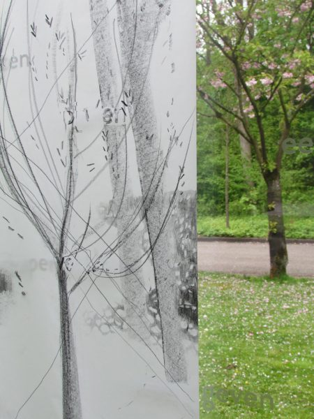 Detail, Graphite pencil on calqueer paper, 2 x 60 x ± 220 cm, exhibition in Zone2Source, het Glazen Huis, Amstelpark, Amsterdam, 2017