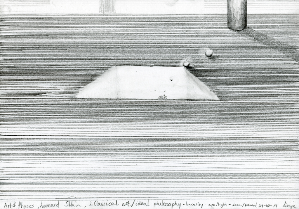 Reflection on the chapters of Leonard Shlain, Art & Physics, chapter 2 2017 pencil drawing on paper/ potlood op papier 21 x 29,7 cm