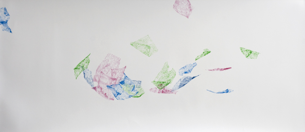 To fly and whirl, fragile with the flowing wind pencil drawing on paper, 118 x51 cm, 2018