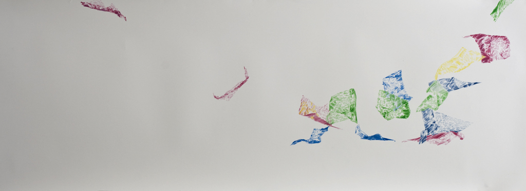To fly and whirl, fragile with the flowing wind pencil drawing on paper, 156x51cm, 2018